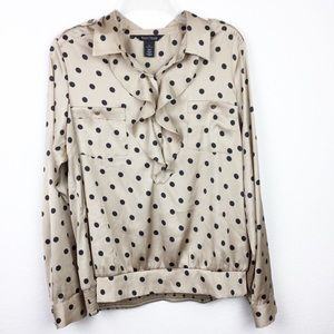 Tops - WHBM Polka Dot Button-up Collared Blouse